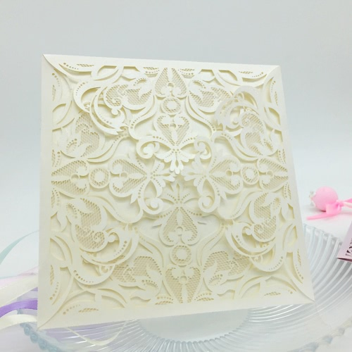 10Pcs Romantyczny Wesele Karta Zaproszenie Delikatne Rzeźbione Wzór