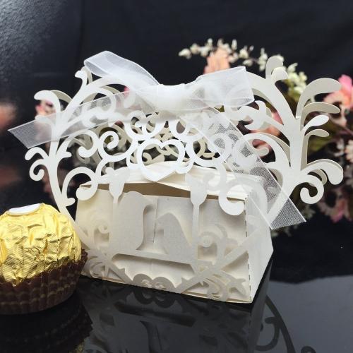 Anself 20pcs Romantische Mini DIY Bonbondosen Geschenk-Kasten für Hochzeitsfest mit weißem Seidenband