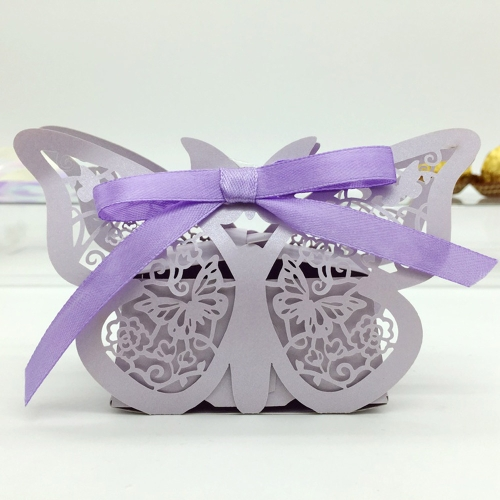 20pcs Romantic Mini Butterfly DIY Candy Cookie Gift Box for Wedding Party with Purple Ribbon