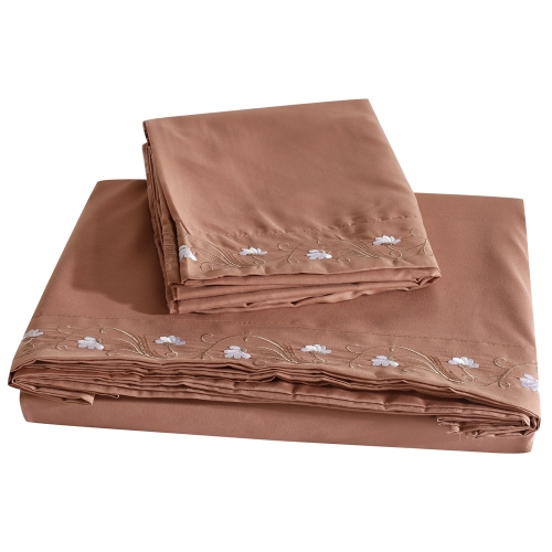 Comfortable Pure Color with Special Decoration Lotus Embroidery Queen Set Facial & Skincare 100% Polyester Home Bedding Four Pieces Flat Sheet Fitted Sheet Two Pillowcases