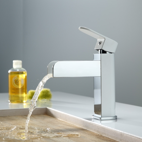 KINSE LED Light Waterfall Spout Basin Sink Faucet Bathroom Temperature Sensor Controlled Mixer Tap