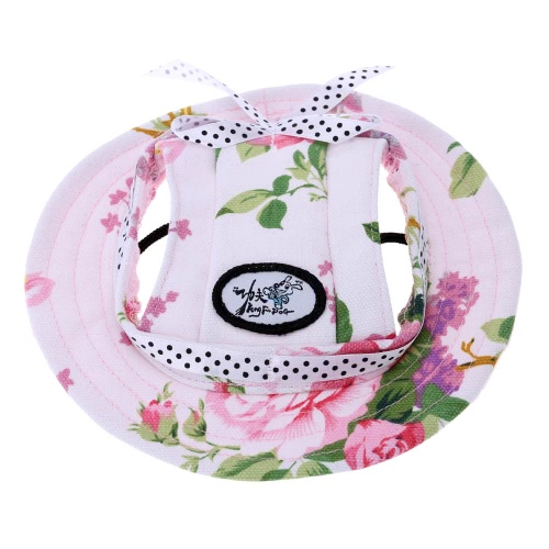 Fashion Breathable Fabric Canva Pet Sun Hat Super Cute Sun-shading Cap with Ear Holes