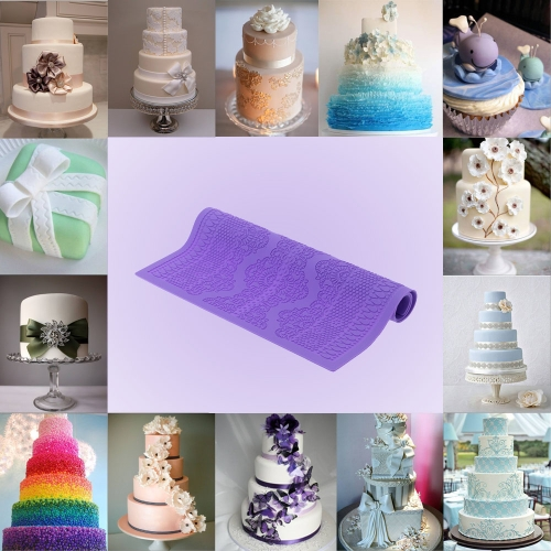 Purple Silicone Fondant Cakes Lace Baking Mold DIY Cake Decoration Kitchen Tool