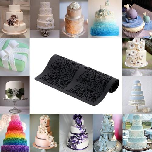 Черный силиконовой помадкой пирожные кружева выпечки плесени торт DIY украшения кухня инструмент