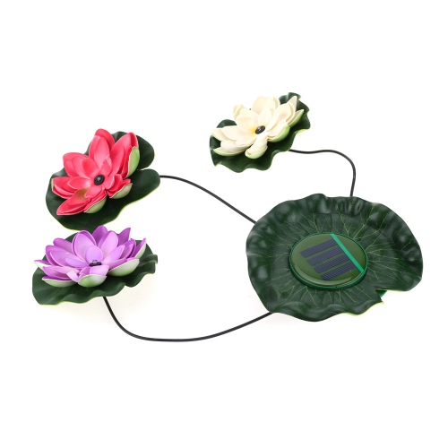 Solar Powered LED Floating Lotus Light Night Flower Lamp for Pond Fountain Garden Pool