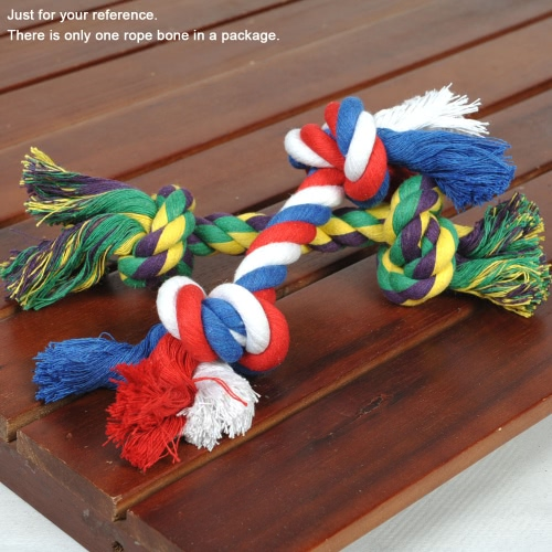 Anself algodón Multicolor cuerda mascota Durable hueso formado Chew del perro juguete tóxico gratis cachorro entretenido juguete de cuerda hueso Multi nudos la cuerda para mascota