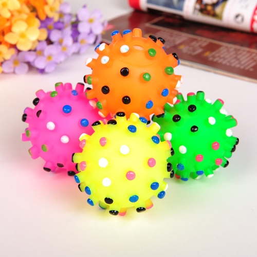 5PCs Pet Dog Cat Chewing Toys Multi Dot Rubber Ball with Sound Squeaker Toxic Free Safe Entertained Animal Toy