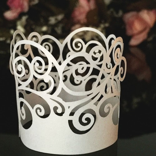 20 pcs Cupcake Decoration for Wedding Celebration Cake Lace Laser Cut Wrappers Wraps Cases