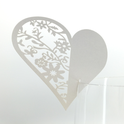 20 pcs Heart Shape Glass Name Card Wedding Celebration Birthday Party Wine Table Card Decoration