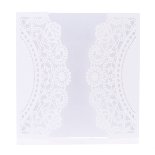 TOMTOP / 20 pcs White Laser Cut Wedding Celebration Birthday Party Invitation Card