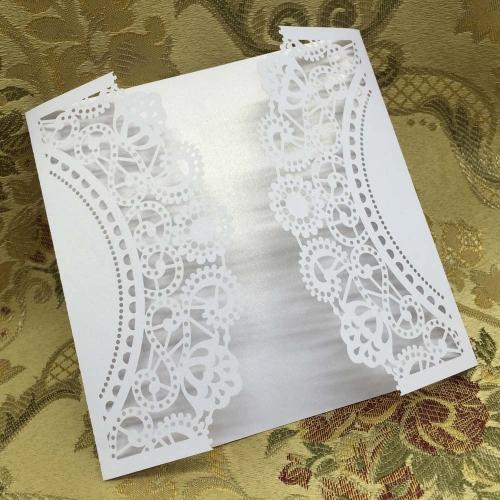 20 pcs Blanc Découpée au Laser Carte d'Invitation pour la Célébration de Mariage la Fête d'Anniversaire avec Enveloppe Délicate