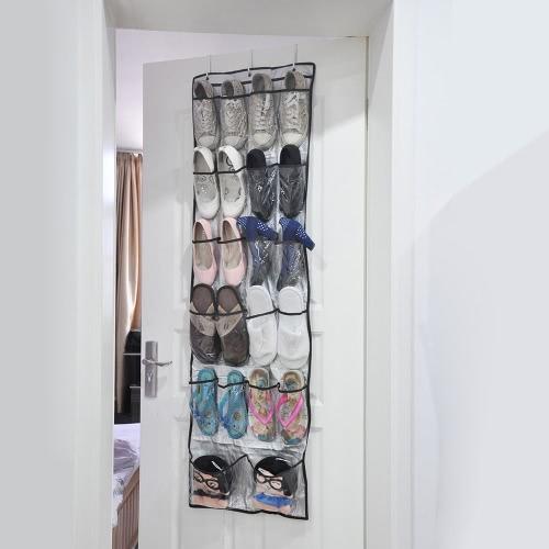 22 Poches Penderie Suspendue Transparente 6 Couches Pliable Sac de Rangement de Chaussures Accrochant aux Portes Sac suspendu de Multi-usages Organisateur Excellents de Chaussures