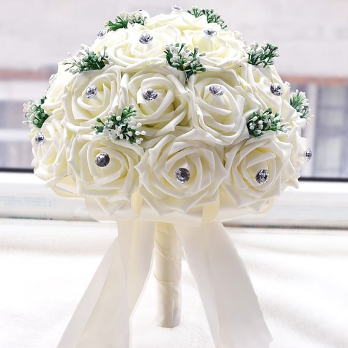 Anself White Wedding Flower Bouquet  Decoration Supplies with 30 Hand Made Diamond Roses