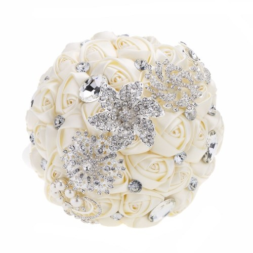 Decdeal Bridal Bouquet, Roses Flowers Crystal Pearl Wedding Bouquet