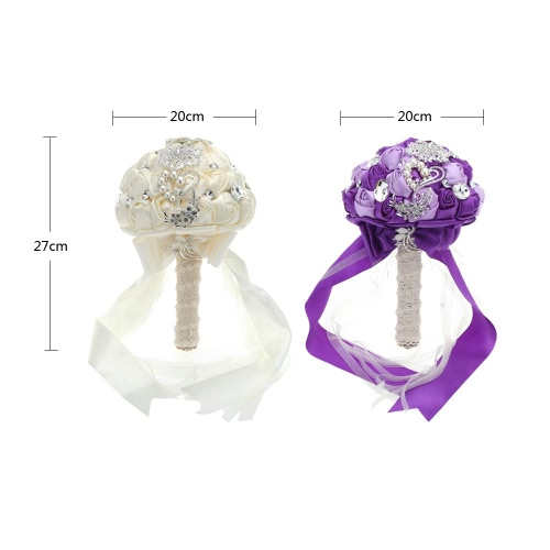 Wedding Decoration Supplies Hand Made Ivory Satin Roses Bright Diamond Flower Salable Product for Bride Bouquet with Artificial Crystal Bridesmaid Flowers White/Purple Valentines Gift
