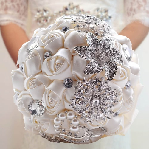 Decdeal Bridal Bouquet, Roses Flowers Crystal Pearl Wedding Bouquet Ivory (20x27cm)