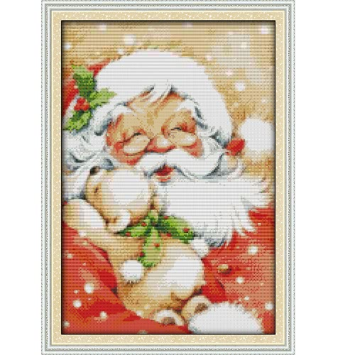 37*50cm DIY Handmade Counted Cross Stitch Needlework Set Embroidery Kit Santa Claus Portrait Home Decoration 14CT