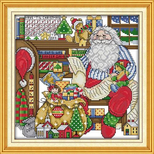 38 * 37см DIY Pучной Работой Вышивка крестиком Набор для Шитья Комплект для Вышивания Рабочая Комната Деда Мороза Домашнее Украшение 14CT