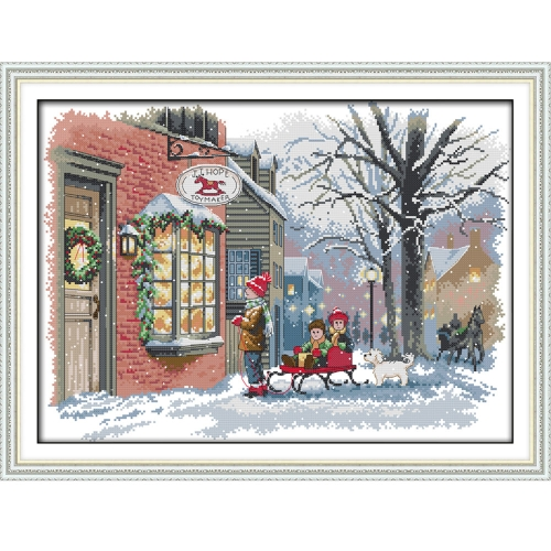 Decdeal 52*39cm DIY Handmade Counted Cross Stitch Needlework Set Embroidery Kit Christmas Wishes Home Decoration 14CT