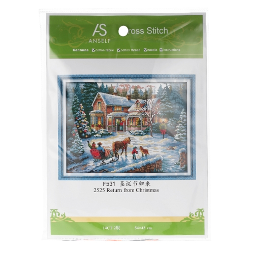 Decdeal 57*44cm DIY Handmade Counted Cross Stitch Needlework Set Embroidery Kit Christmas Scenery Home Decoration 14CT