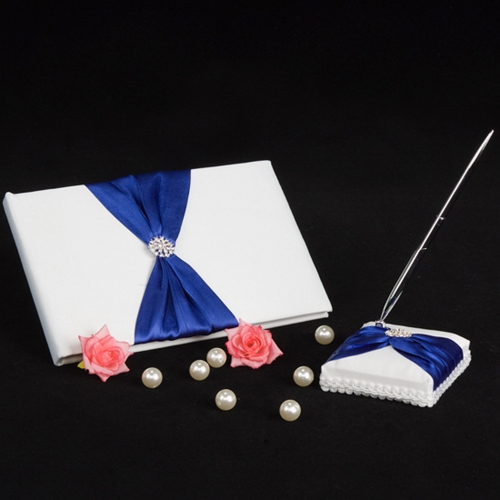 Romantic Wedding Guest Book and Pen Elegant Satin Bowkont Shining Rhinestone Embedded Fashion Guest Pen and Guest Book Set