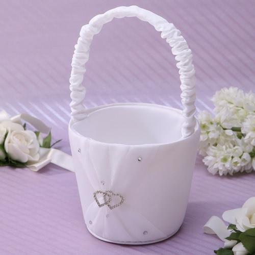 Novia romántica pura flor cesta elegante satén brillante canasta Adorable incrustado de diamantes de imitación