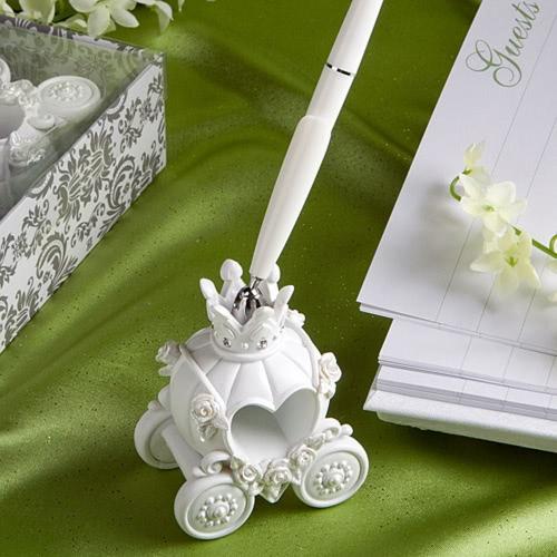 Moda boda pluma elegante carruaje calabaza Pen Stand excelente boda suministros