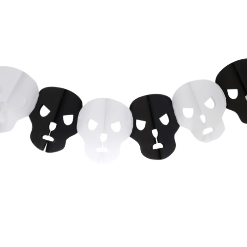 Awesome Pumpkin Witch Ghost Spider Skeleton Head Paper Garland Decorated Product for Halloween