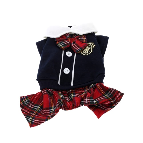 Lovely Bowtie Fashionable Campus Style Pet Puppy Dog Clothes Jumpsuit Couple Dress for Spring Autumn Female M