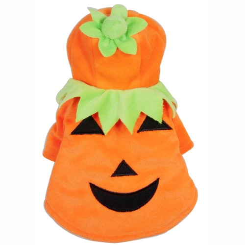 Soft Warm Pet Dog Puppy Clothes Coat Halloween Pumpkin Costume for Autumn Winter S