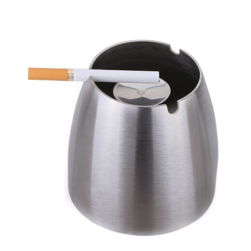 Stainless Steel Windproof Taper Ashtray Cigarette Cigar Ash Holder with Column Bracket