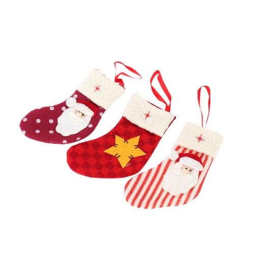 New Style Mini Santa Socks Christmas Ornament Candy Pack XMAS Decoration 3pcs