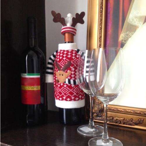 Рождество Обложка и Сумка Лося для Красного Бутылки Вина на Обеденном Столе Главные Украшения для Собрании Декор