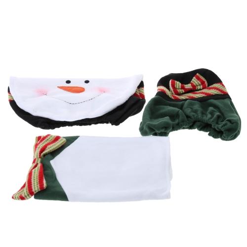 3Pcs Schneemann Sitzklo Toilette Sitzabdeckung Bodenmatte Kissen Badezimmer Dekoration Serie Weihnachten Dekoration