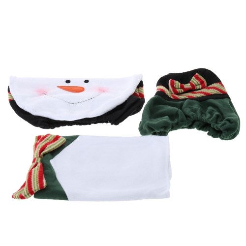 3Pcs Snowman Closestool Toilet Seat Cover Floor Mat Cushion Bathroom Decorative Set Christmas Decoration