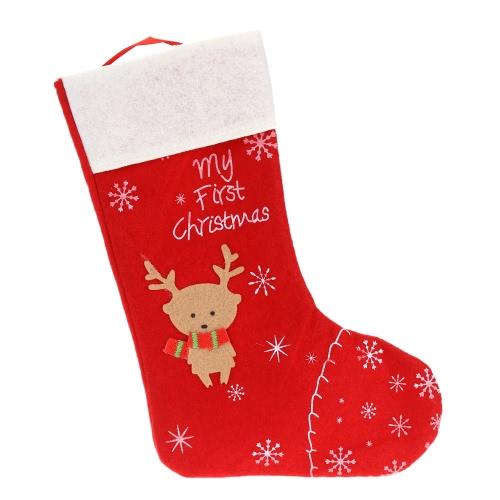 Xmas Gift Bag Santa Treat Sack Boot with Reindeer Pattern Christmas Candy Present Socks Christmas Supply