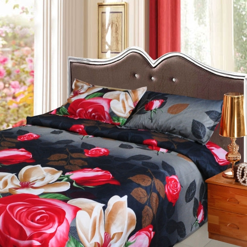 Rose Magnolia Flower Pattern 4Pcs 3D Printed Bedding Set Bedclothes Home Textiles King Queen Size Quilt Cover Bed Sheet 2 Pillowcases