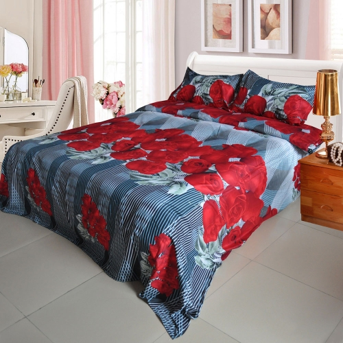 Red Rose Flower Pattern 4Pcs 3D Printed Bedding Set Bedclothes Home Textiles King Queen Size Quilt Cover Bed Sheet 2 Pillowcases