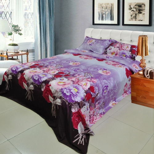 Rose Peony Flower Pattern 4Pcs 3D Printed Bedding Set Bedclothes Home Textiles King Queen Size Quilt Cover Bed Sheet 2 Pillowcases