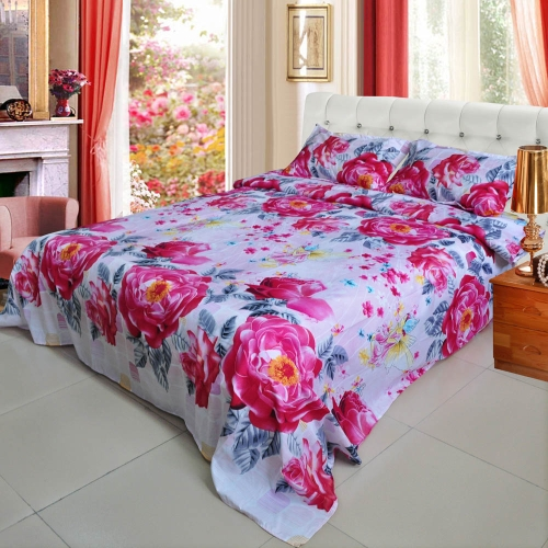 Peony Flower Tree Pattern 4Pcs 3D Printed Bedding Set Bedclothes Home Textiles King Queen Size Quilt Cover Bed Sheet 2 Pillowcases
