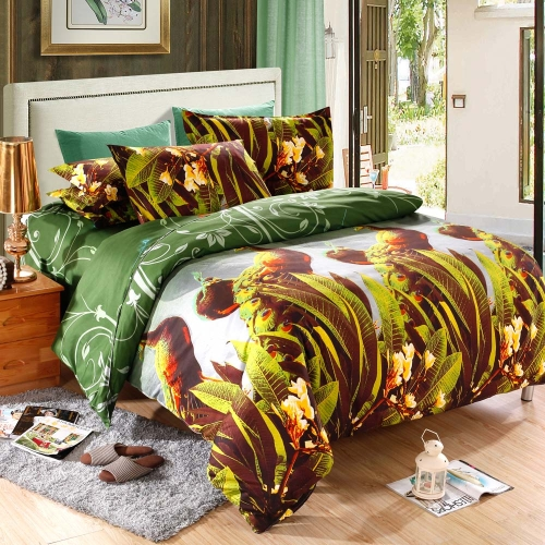 Peacock Pattern 4Pcs 3D Printed Bedding Set Bedclothes Home Textiles King Queen Size Quilt Cover Bed Sheet 2 Pillowcases