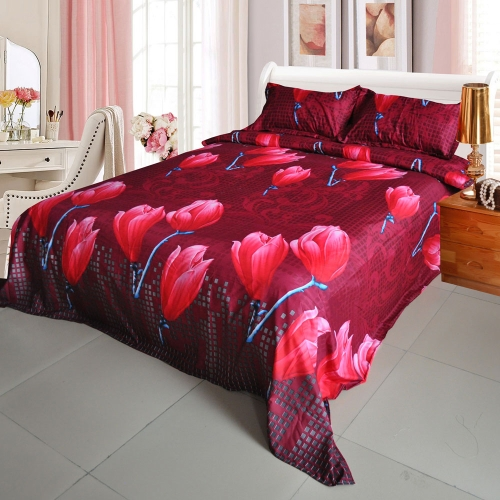 Red Magnolia Flower Pattern 4Pcs 3D Printed Bedding Set Bedclothes Home Textiles King Queen Size Quilt Cover Bed Sheet 2 Pillowcases