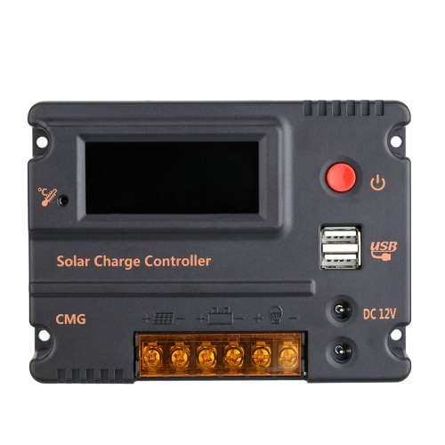 20A 12V 24V LCD Solar Charge Controller Panel Battery Regulator Auto Switch Overload Protection Temperature Compensation