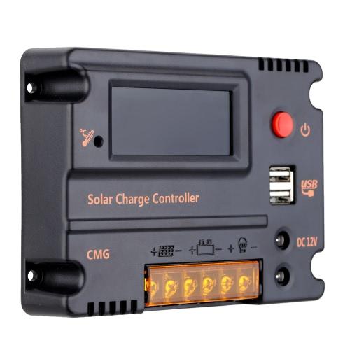 20A 12V 24V LCD Контроллер Заряда для Солнечных Батарей Автоматический Переключатель Защиты от Перегрузки Температурной Компенсации
