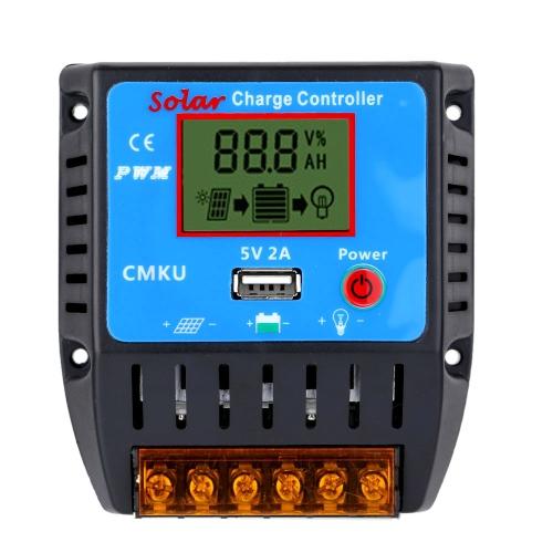 20A 12V / 24V Contrôleur de Charge Solaire avec Ecran LCD Sortie USB Régulateur Automatique Panneau Solaire Batterie Système Protection de Surcharge