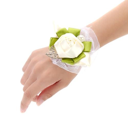 Wedding Decoration Supplies Ivory Bright Bridal Bouquet Dress Up Exquisite Wrist Flowers for Bridesmaid 3pcs
