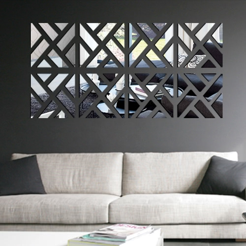Etiqueta de la pared de espejo acrílico 3D DIY extraíble geométrica fijar pegatina arte Mural de calcomanías para la decoración casera 30 * 120cm