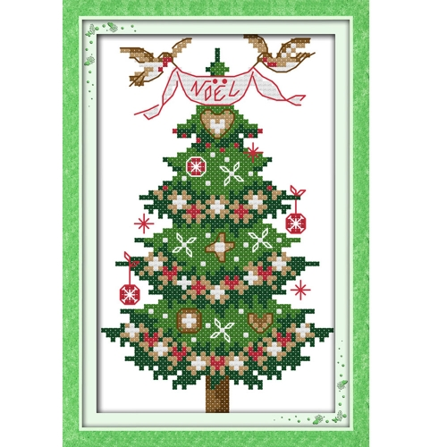 Decdeal 13 * 21cm DIY New Style Counted Cross Stitch Set Embroidery Needlework Kits Christmas Tree Pattern Cross Stitching Home Decoration 14CT