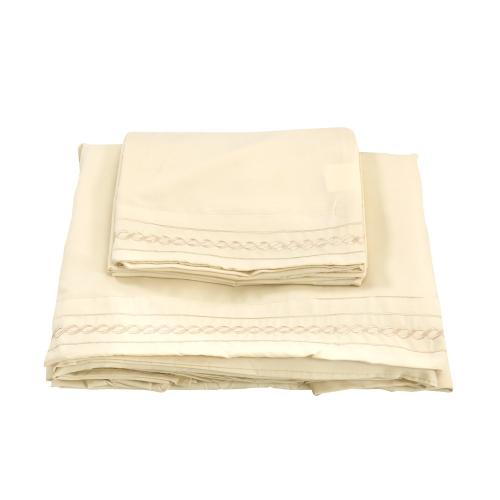 Shads Embroider Cording 3Pcs Bettwäsche Serie Betttuch Matratzenbezug Kissenbezug Bettwäsche Heimtextilien