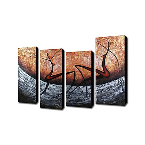 4Pcs Hand-painted Oil Painting Set Modern Abstract Picture Decorative Art for Home Living Room Bedroom Office Hotel Decoration